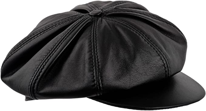 NEW GENUINE LEATHER 8 PANEL BIG APPLEJACK NEWSBOY DRIVING HAT MADE IN USA BLACK