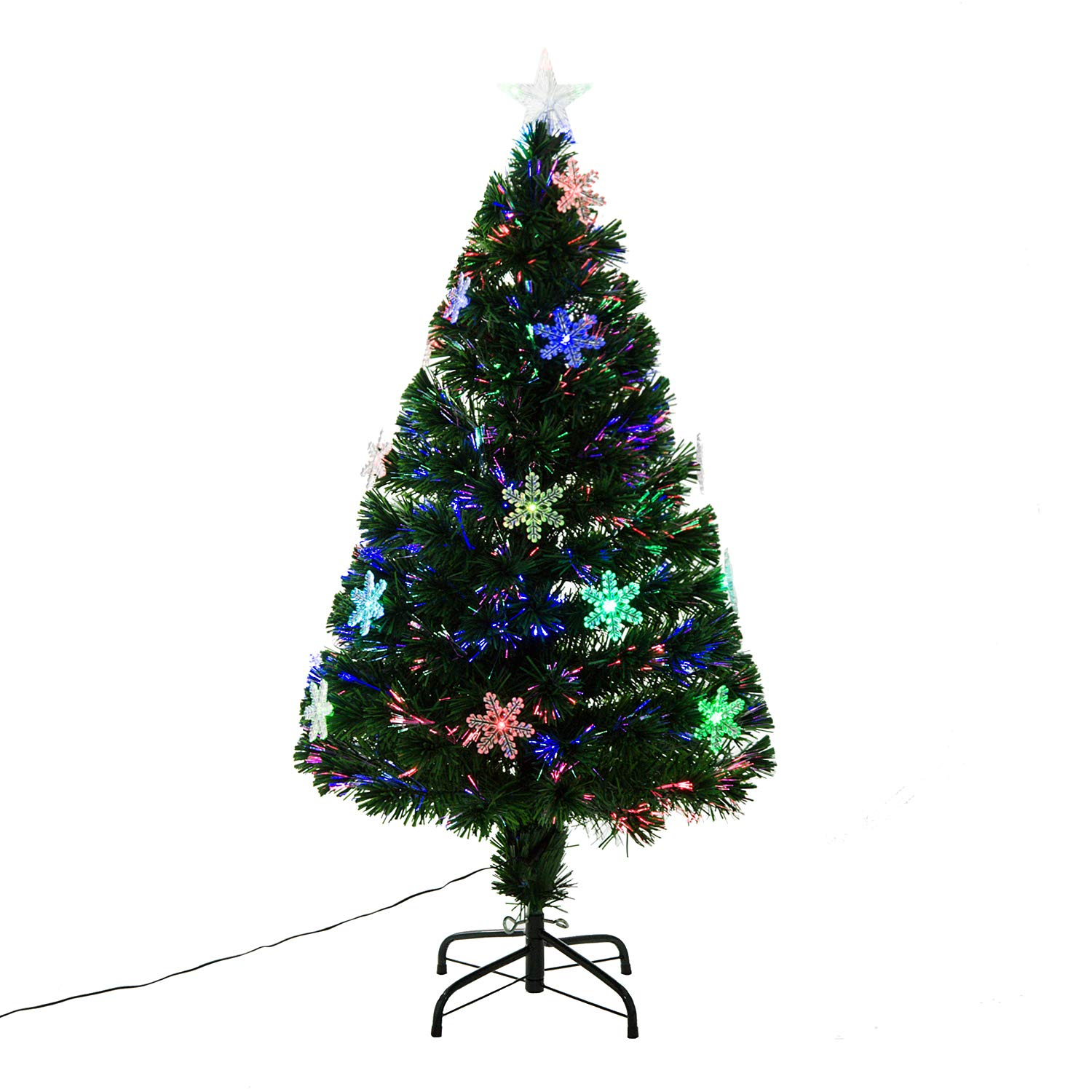 HOMCOM 3ft 4ft 5ft Green Fibre Optic Artificial Christmas Tree Xmas Colourful LED Scattered Light Tree with Snowflakes Ornaments Fireproofing (3ft (90cm)) Sold by MHSTAR