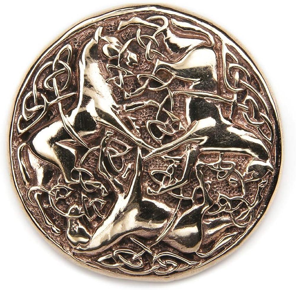 Brosche Gewandnadel Schmuck Bronze keltischer Knoten Broschennadel Durchmesser 3,5cm