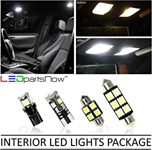 LEDpartsNow Interior LED Lights Replacement for 2017-2018 Fiat 124 Spider Accessories Package Kit (4 Bulbs), WHITE