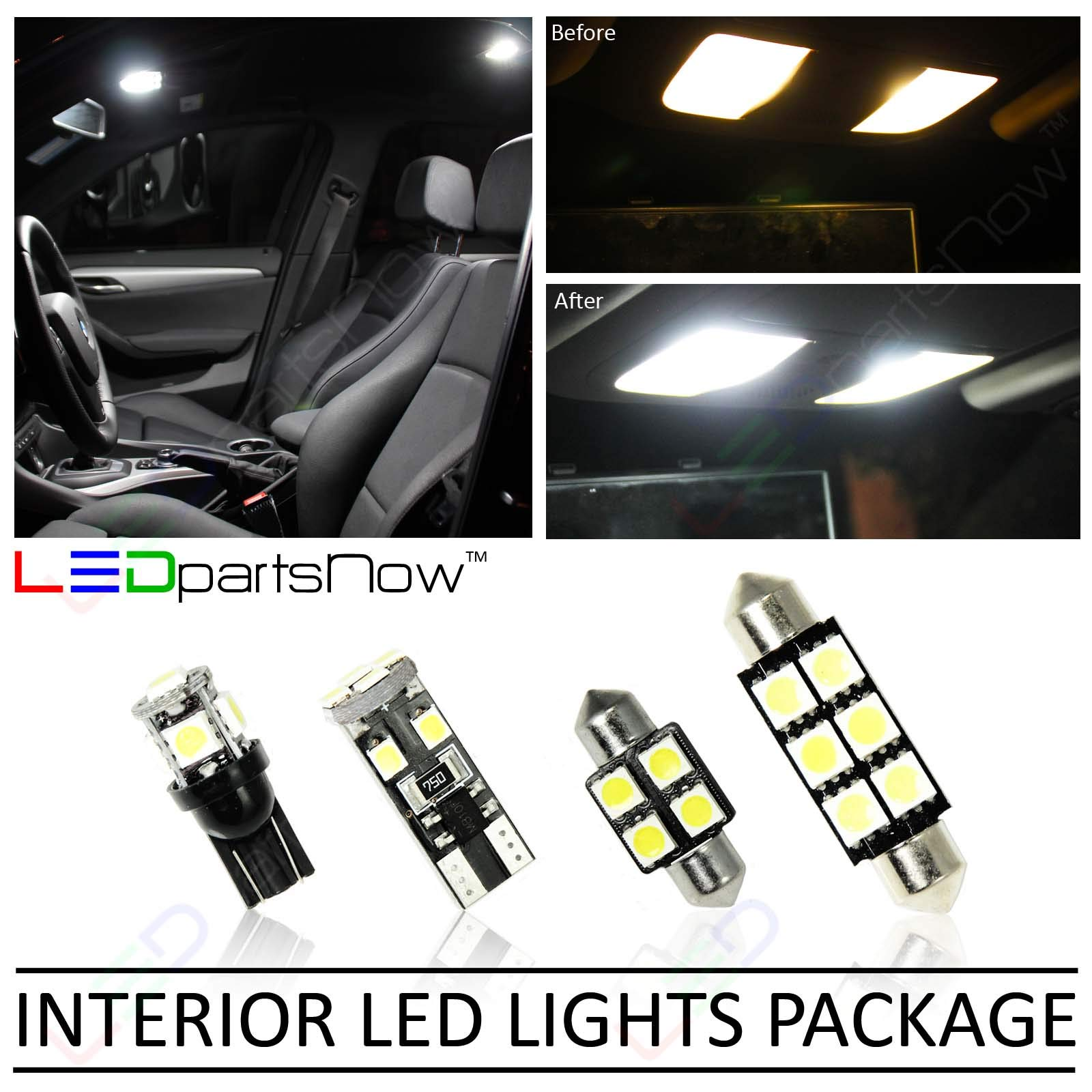 LEDpartsNow Interior LED Lights Replacement for 2009-2013 Honda Fit Jazz Accessories Package Kit (6 Bulbs), WHITE