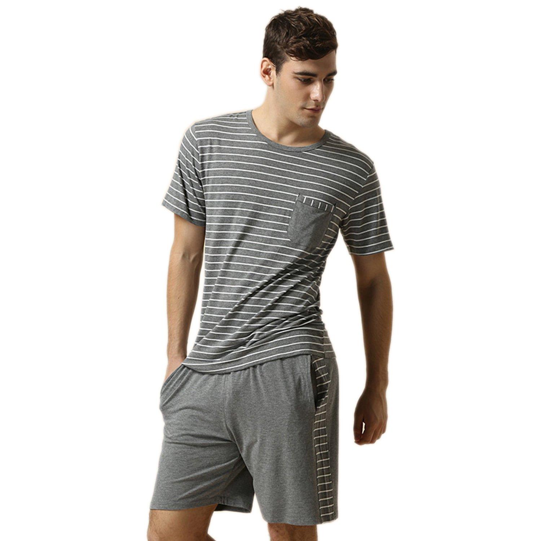 Suntasty Herren Zweiteiliger Schlafanzug kurz Pyjama Baumwolle 2-TLG Set Kurzarm Shirt & Shorts kurz Nachtwäsche