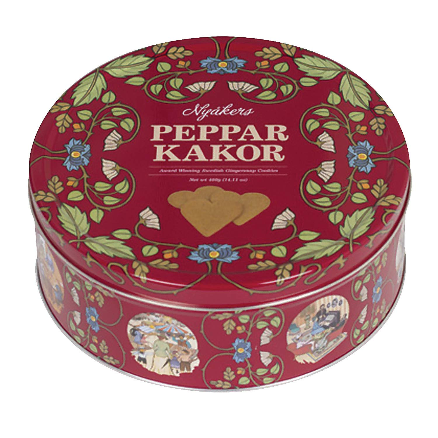 Nyakers Pepperkakor ginger heart shaped Swedish cookies in Carl Larsson collectible round tin. #swedishcookies
