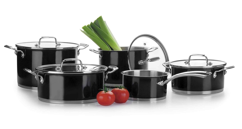 Lacor - 44005 - Bateria De Cocina De 5 Piezas (Cacerola20-24,Olla20-24 y Cazo16)- Negro: Amazon.es: Hogar