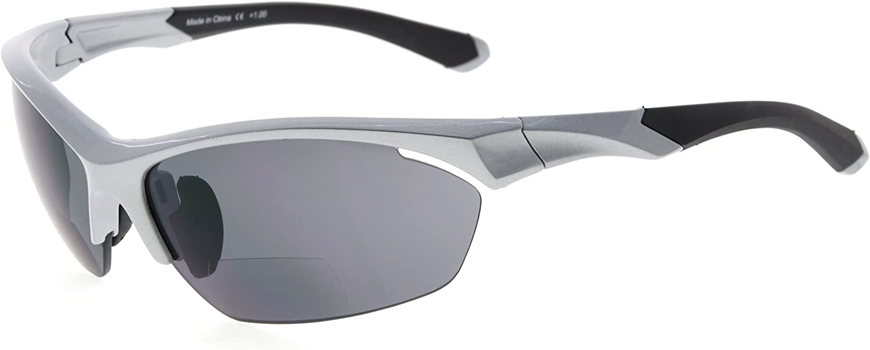 Eyekepper TR90 deportes bifocales gafas de sol béisbol Correr Pesca conducción Golf Softbol senderismo half-rimless gafas de lectura (Nacarado Plata, 1.00)