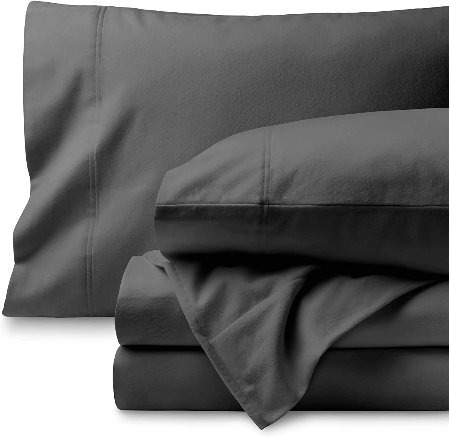 Bare Home Flannel Sheet Set 100% Cotton, Velvety Soft Heavyweight - Double Brushed Flannel - Deep Pocket (Twin, Grey)