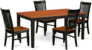 East West Furniture Nicoli Kitchen And Dining Room Sets 5 Pieces Black & Cherry