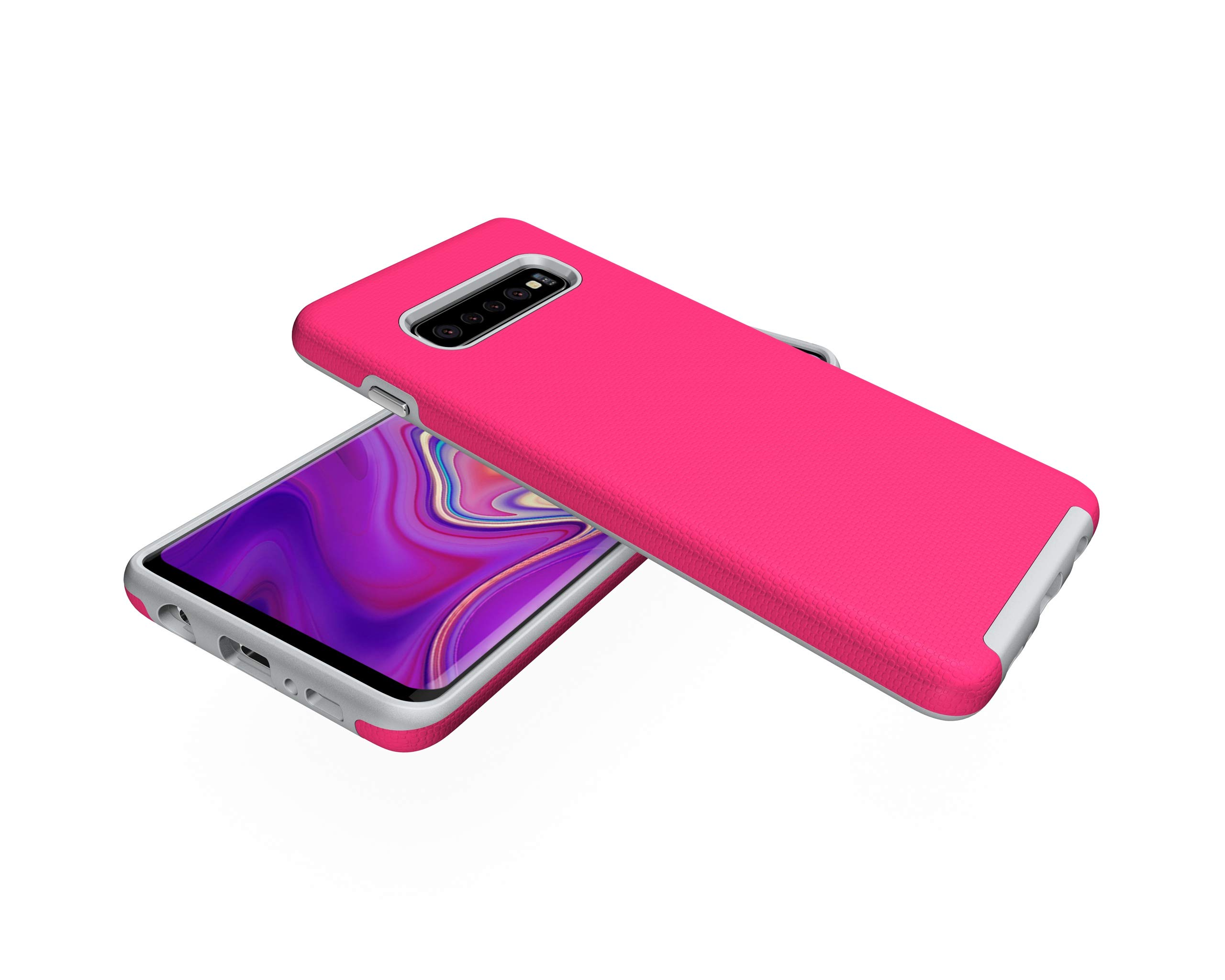 NOMO Galaxy S10 Case,Samsung S10 Hybrid Defender Armor Case,Dual Layer Protective Phone Case,Full Body Rugged Case,Non-Slip Drop Protection Shock Proof Case for Samsung Galaxy S10 Hot Pink by NOMO (Image #3)