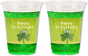 12oz St Patrick's Day Shamrock Cups - (30 Count) Happy St Patrick's Day Disposable Clear Plastic Cups for Party Decoration, Lucky Shamrock Party Supply Drinkware for Beer/Beverage/Ice Cream/Snacks