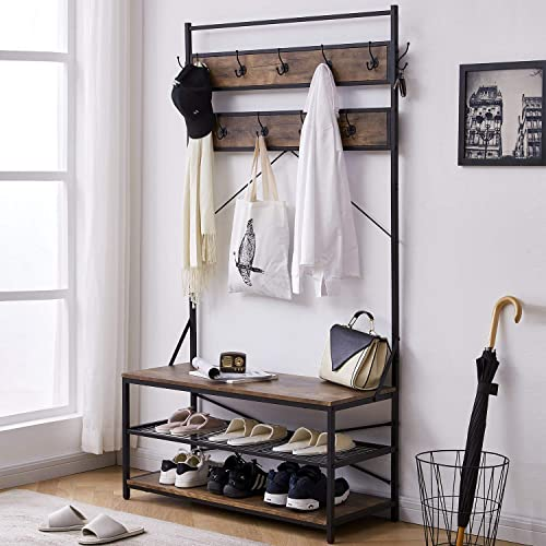 3-in-1 Entryway Coat Rack Vintage Industrial Hall Tree 72 Inch with Storage Bench and Coat Racks Entryway Storage Shelf Organizer with 9 Hooks Large Size, Wood Look Accent Furniture with Metal Frame