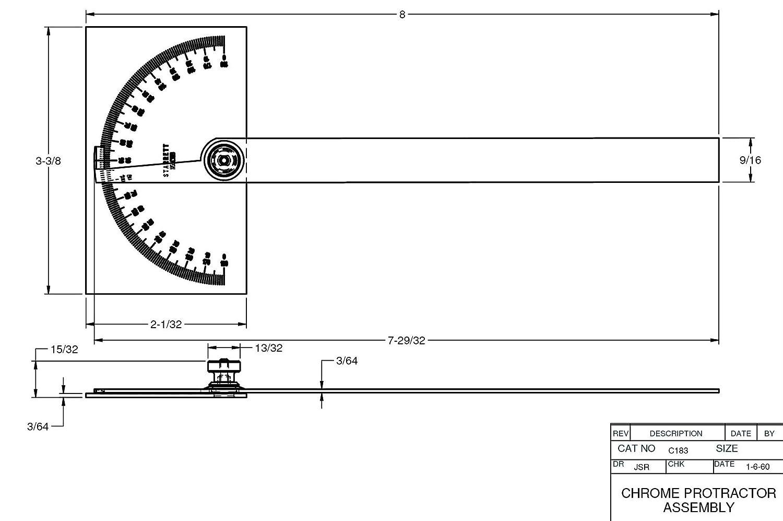 Starrett C183 Steel Protractor with Rectangular Head