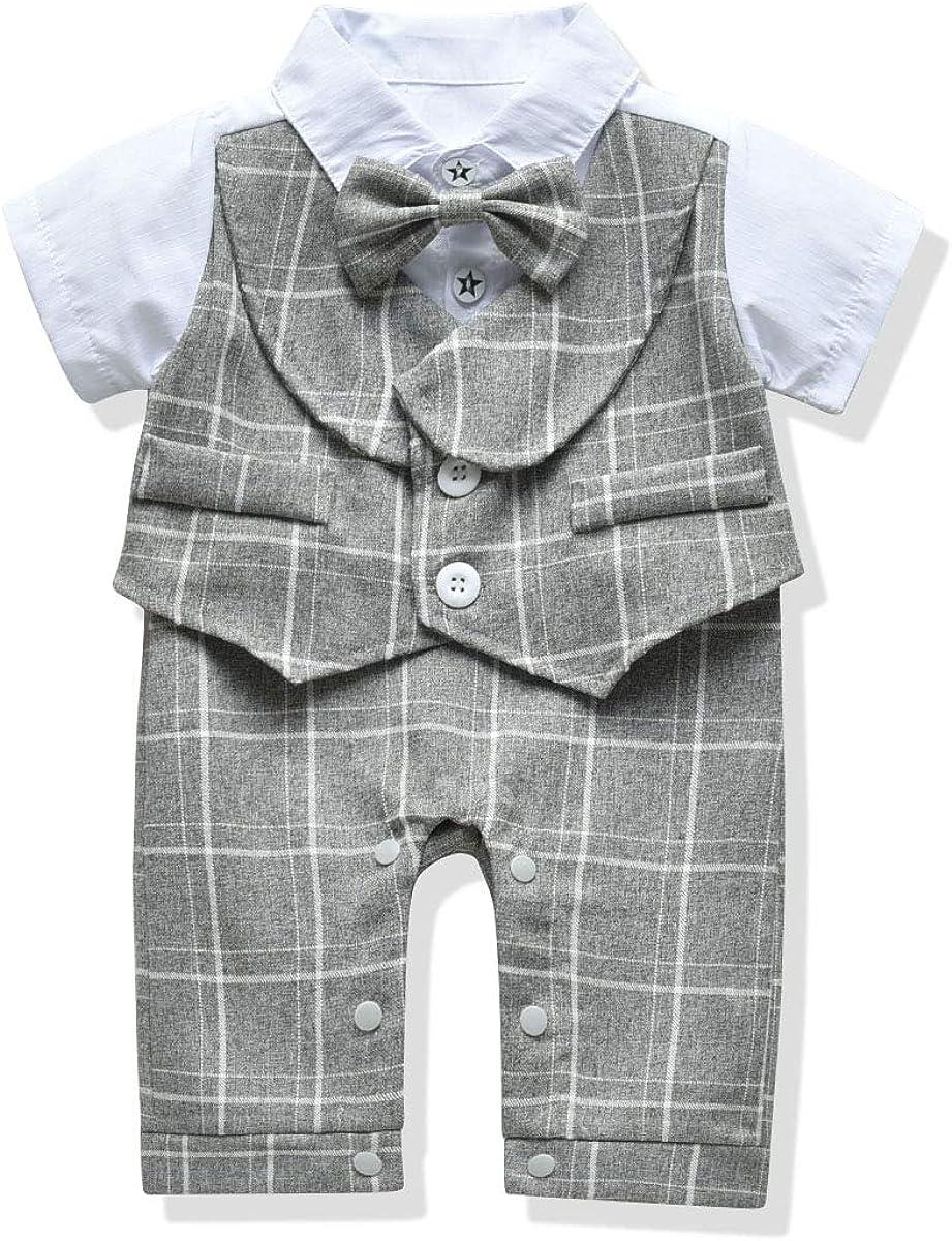 Hi,DuDu Baby Boys Clothes Gentleman Bowtie Jumpsuit Romper Infants Summer Linen Baby Boys Romper