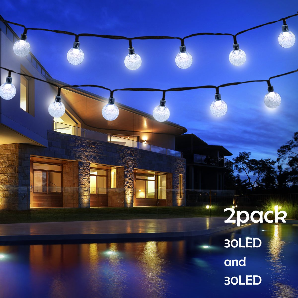 Lalapao Globe String Lights 2 Pack Solar Powered Outdoor Lights 30 LED 19.7ft Crystal Ball Fairy String Light for Christmas Xmas Tree Garden Path Patio Home Lawn Holiday Wedding Decor Party (White)
