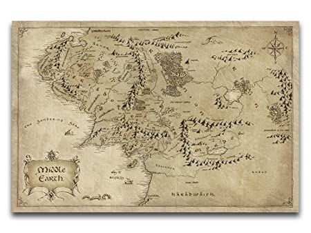 map middle earth lord of the rings hobbit stunning canvas print giant