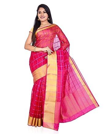 9c7c0f0e60 Roopkala Silks & Sarees Organza Saree (Sv-1523_Dark Pink): Amazon.in ...