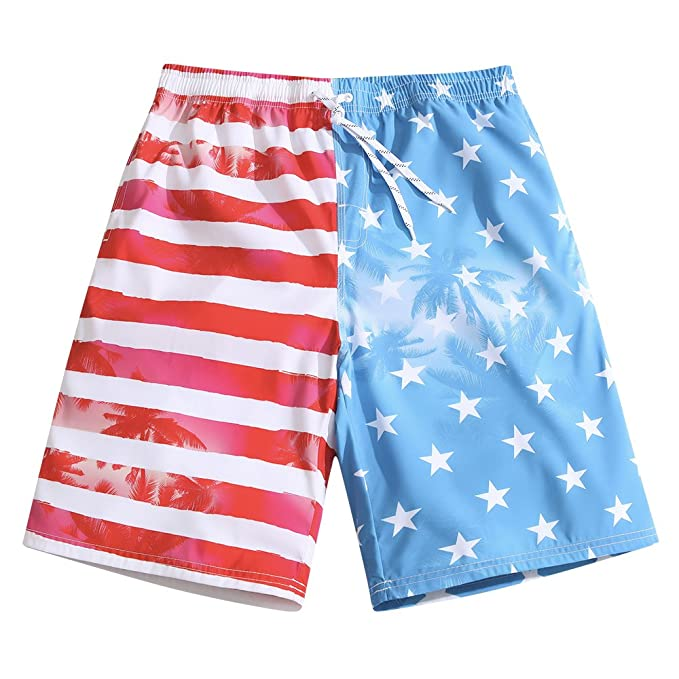 4545c628f2 Mens Ultra Quick Dry Patriot Vacation Fashion Board Shorts Small 31-32
