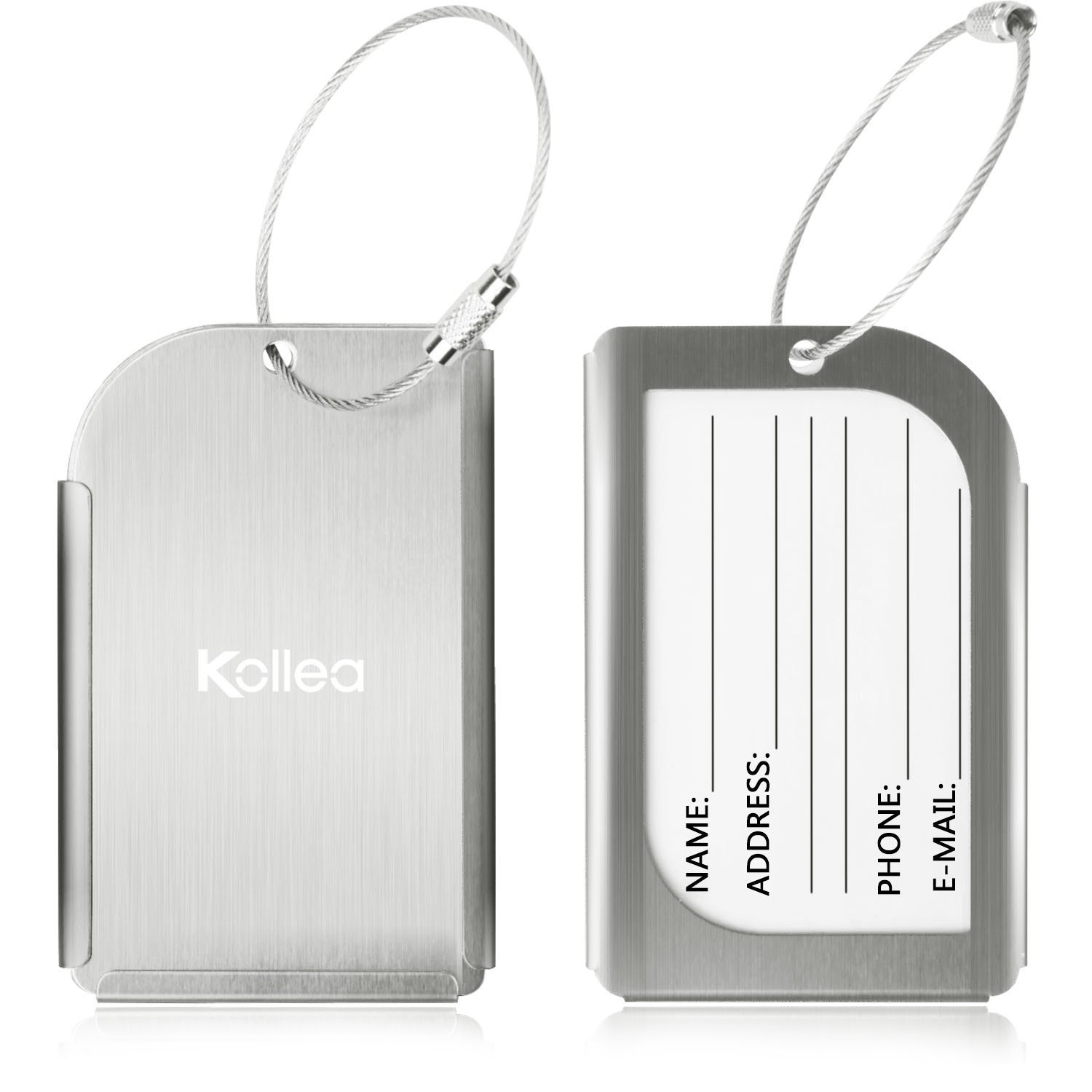 Luggage tags amazon luggage tags kollea pack of 2 aluminum travel id tag business card holder suitcase label magicingreecefo Choice Image