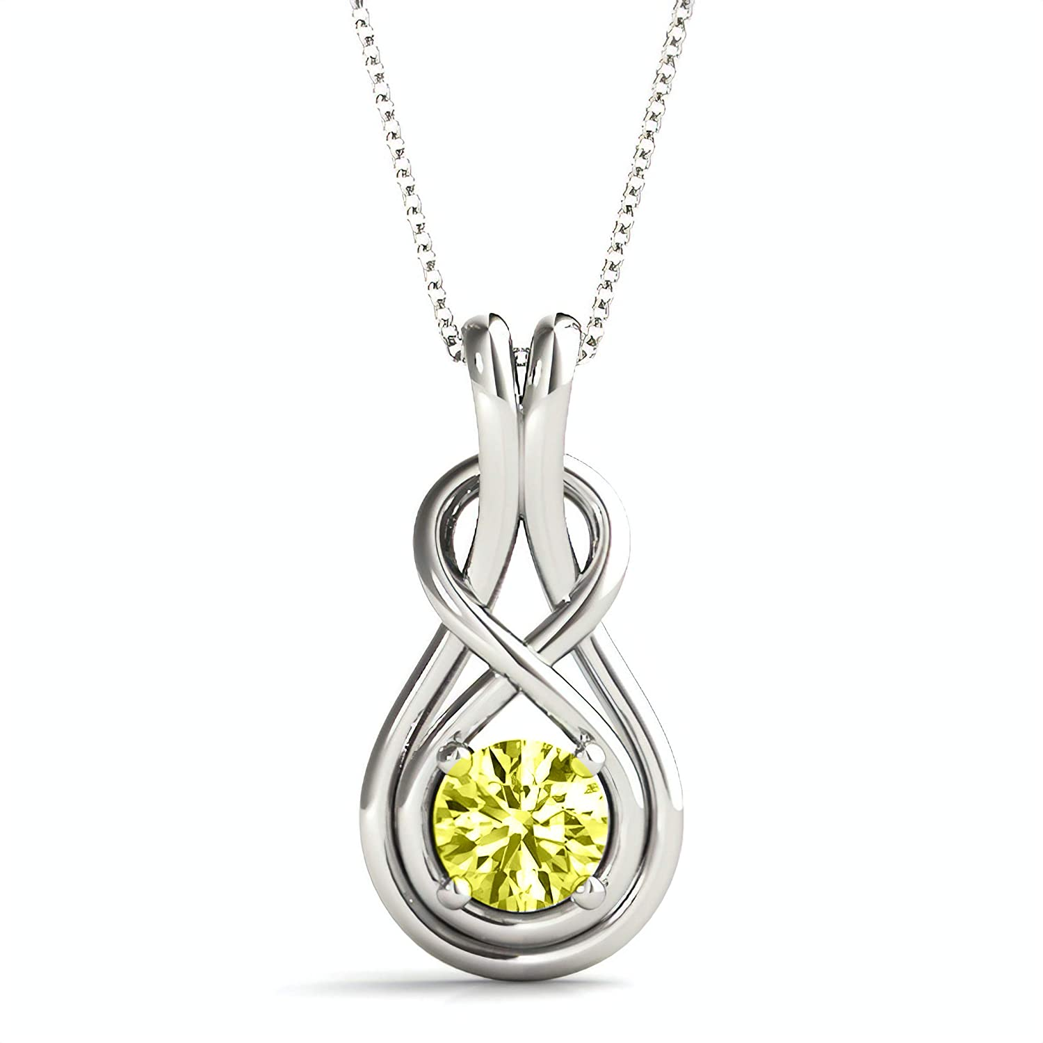 Frostrox Sterling Silver 0.10 Carat Round Cut Infinity Love Knot Diamond Pendant