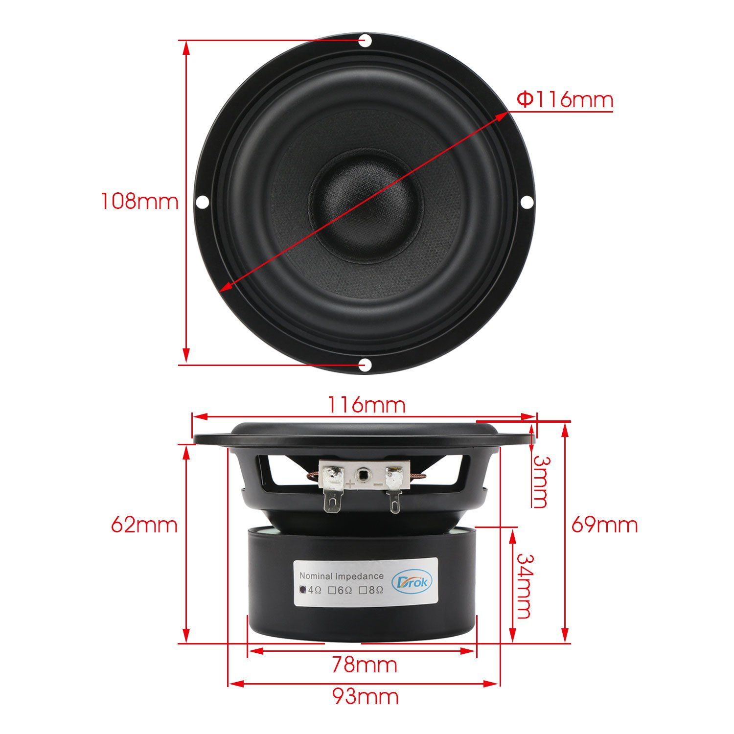 DROK 4 4 Ohm White Audio Speakers 40W Anti-Magnetic Car Stereo Bass Speakers 87dB High Sensitivity Thumping Subwoofer Loudspeaker for 2.0//2.1 Home Stereo DIY Boombox Satellites