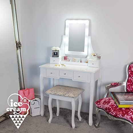new product 1cecf aa0c3 IceCreamLiving Arianna Deluxe Luxurious Hollywood Dressing Table with LED  Lights & Vanity Mirror 5 Drawers Stool For Makeup Bedroom Jewellery Set ...