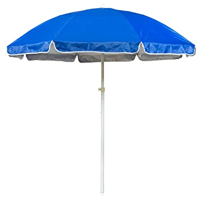 6.5' Portable Beach and Sports Umbrella by Trademark Innovations (Blue) : Garden & Outdoor