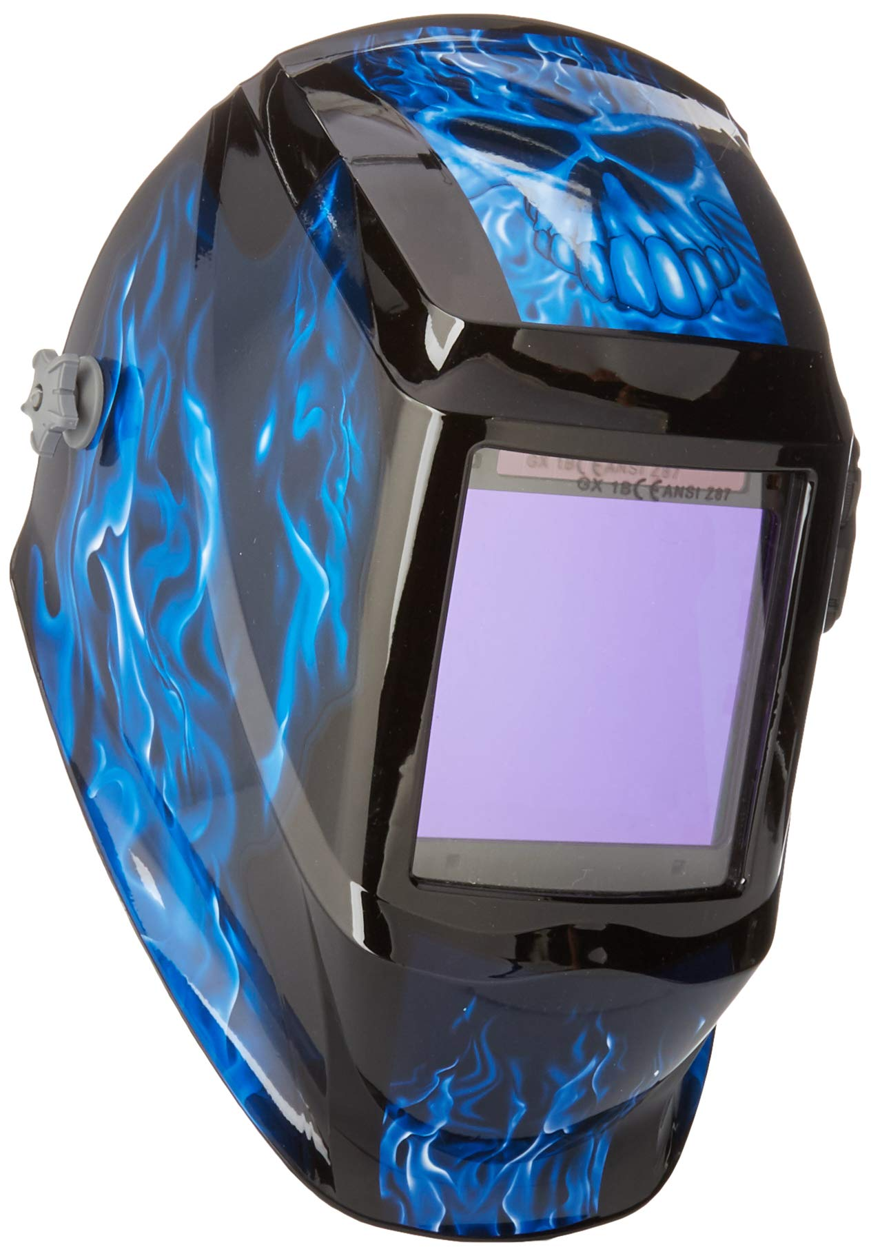 Instapark ADF Series GX990T Solar Powered Auto Darkening Welding Helmet with 4 Optical Sensors, 3.94'' X 3.86'' Viewing Area and Adjustable Shade Range #5 - #13 Bluish Devil