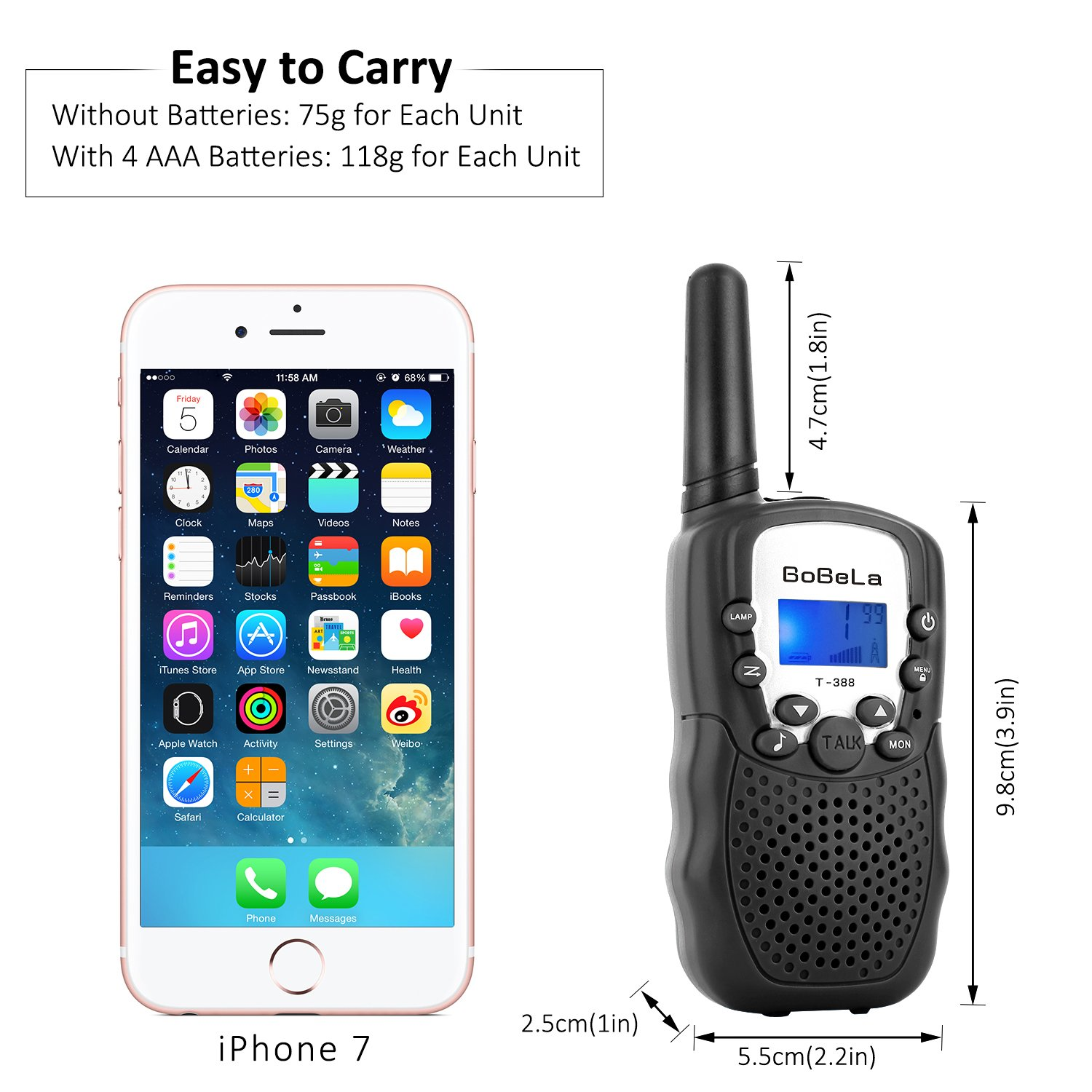 Bobela Walkie-Talkies 4 Pack for Adults Travel - T-388 Black Handheld Walky-Talky with Flashlight for Parents Kids - 2-Way-Radio with Mic PTT Clip Long Range for Baby Teen Boy Girl Him Family as Gifts by Bobela (Image #4)