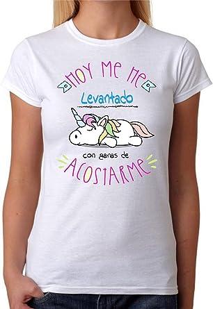 Camiseta Hoy me he levantado con ganas de acostarme Camiseta Divertida de Regalo o para Grupos de Amigas para Fiestas, Despedidas, ferias.: Amazon.es: Ropa y accesorios