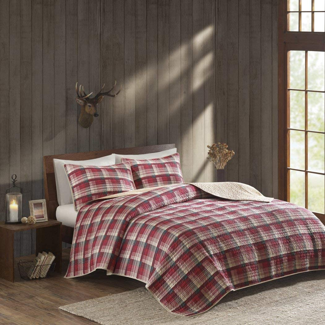 OSD 3pc Black Tan Red Plaid Quilt Full Queen Set, Tartan Checked Pattern Bedding Cabin Lodge Themed Madras Checkered Squares Southwest Western Patchwork Solid Color, Cotton