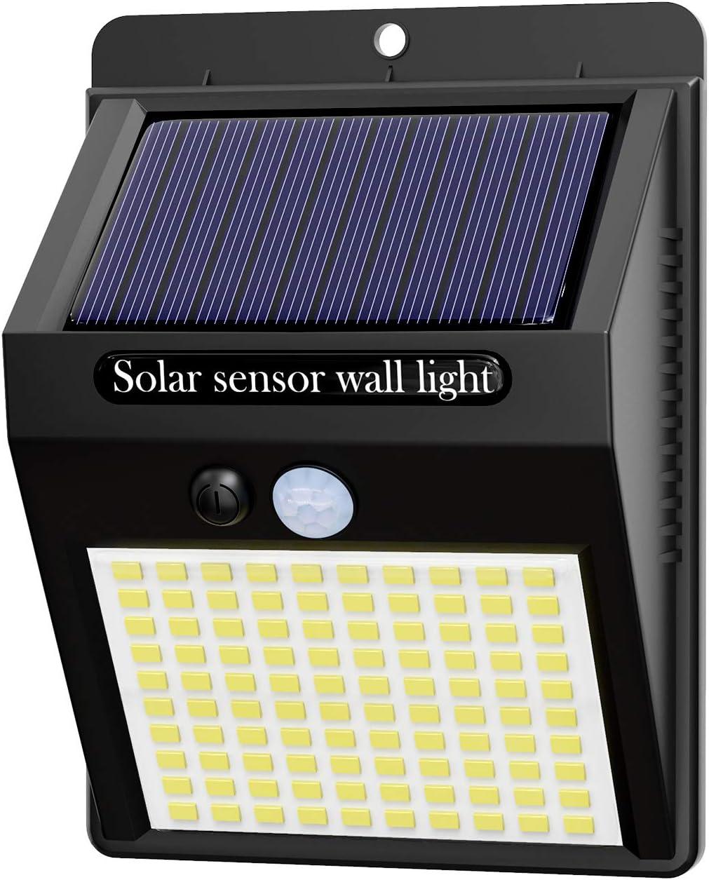 Hepside Luz Solar Exterior,【1 Pack / 3 Modos】Luces LED Solares para Exteriores, 800 Lumens Focos LED Exterior Solares, Luces de Seguridad Inalámbricas a Prueba de Agua para el garaje del Jardín Camino [Clase de eficiencia energética A+++]