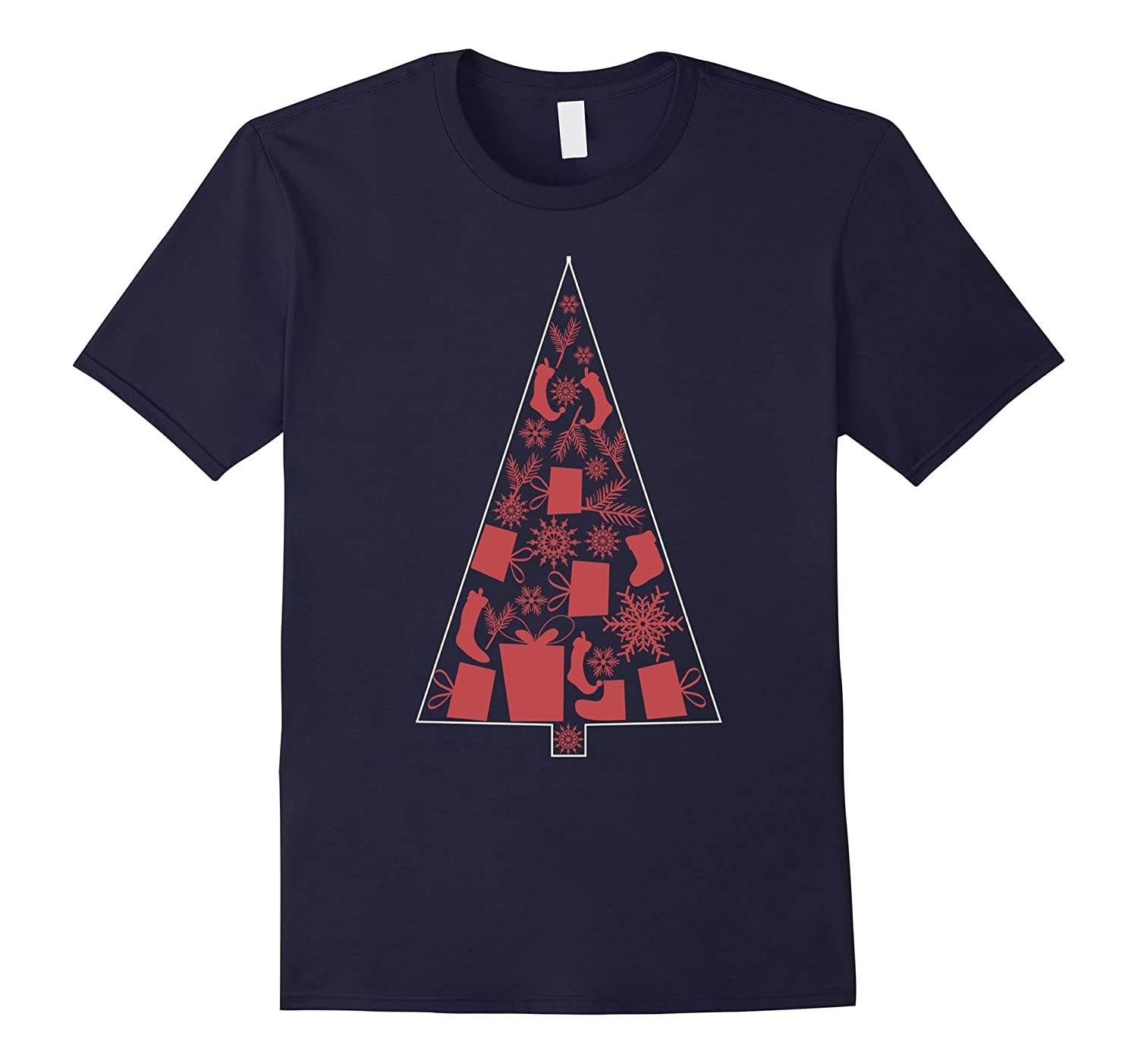 Christmas Tree T Shirt Christmas Gift Graphic Tee Relax Fit-BN