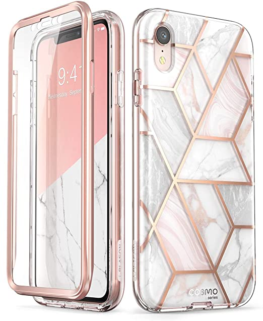 the latest 6b069 a0f30 i-Blason Cosmo Full-Body Glitter Bumper Case for iPhone XR 2018 Release,  Marble, 6.1