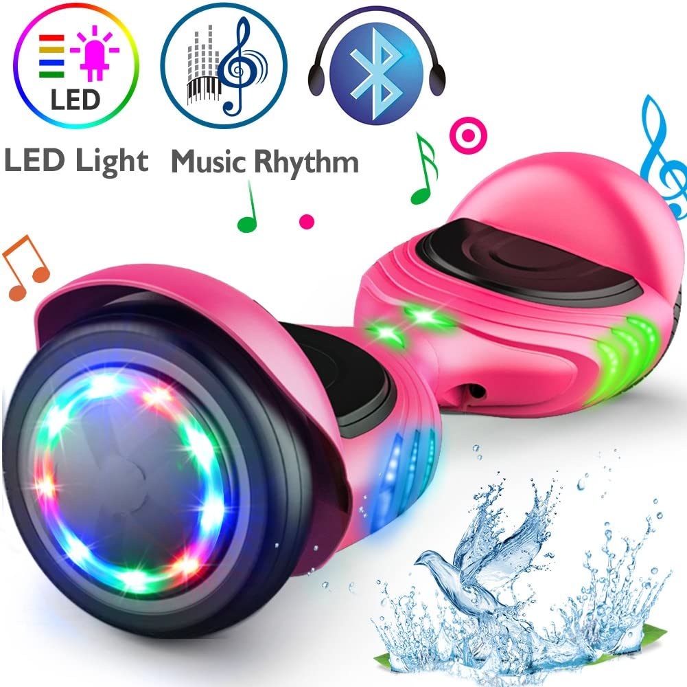 TOMOLOO Hoverboard with Bluetooth Speaker and LED Lights Self-Balancing Scooter Pink / US