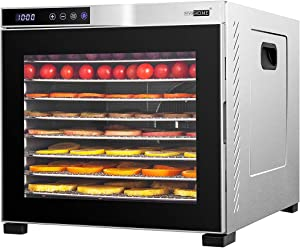 VIVOHOME Stainless Steel Electric 1000W 10 Trays Commercial Food Dehydrator Machine with Digital Timer and Temperature Control for Fruit Vegetable Meat Beef Jerky Maker ETL Listed