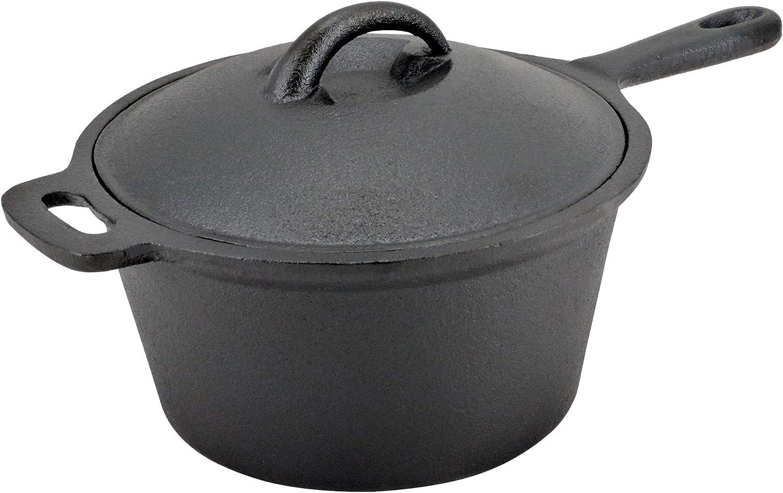 NuCast - Olla de hierro fundido de 3 cuartos de galón. Sartén pretratada, freidora, horno holandés, con tapa de cúpula: Amazon.es: Hogar