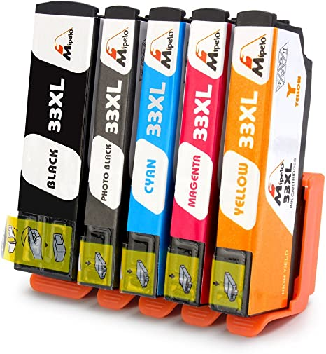 Mipelo 5 Pack Compatible Epson 33 33XL Cartuchos de tinta ...