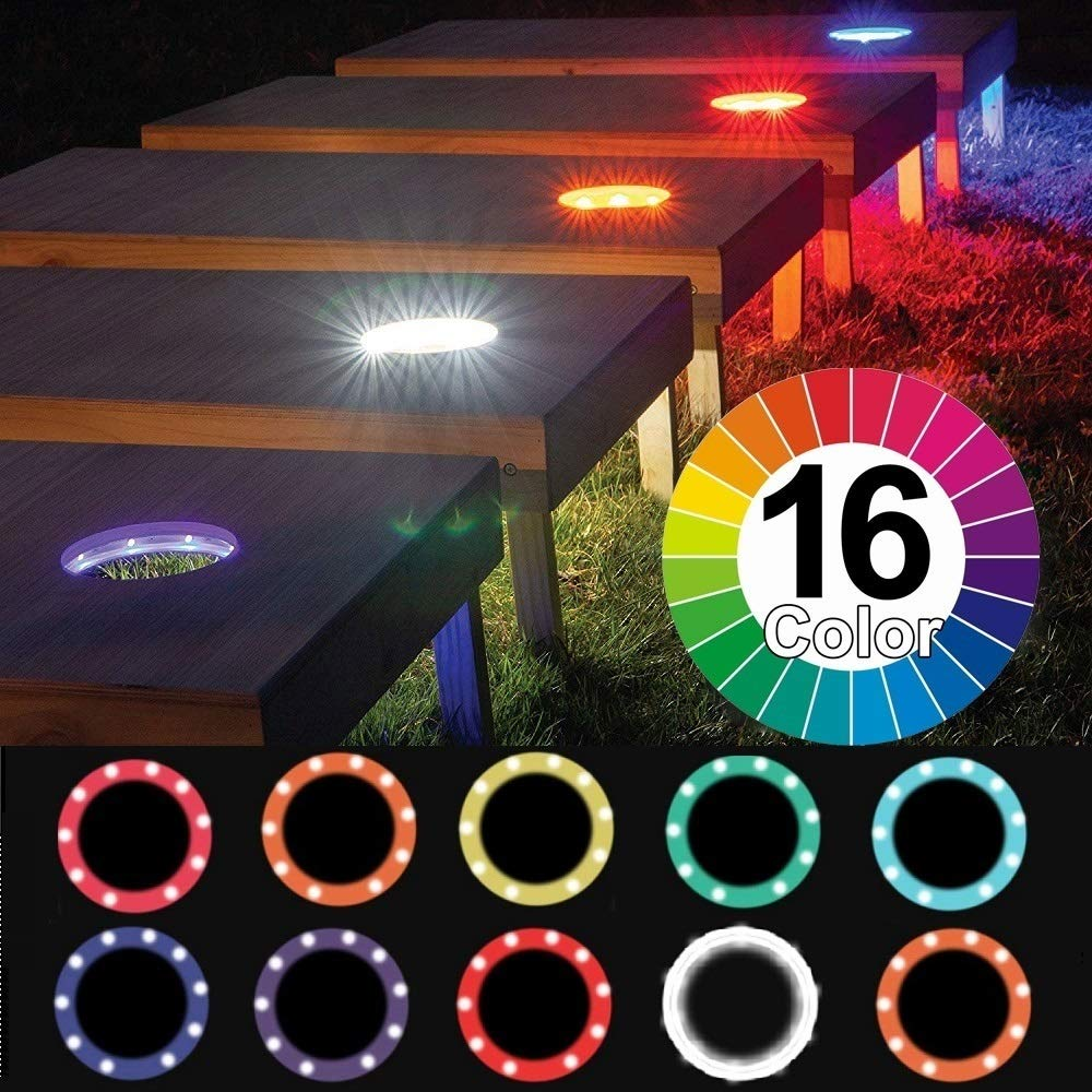 Alritz Cornhole Lights, 16 Color Changing Corn Hole LED Night Lights Standard Cornhole Board Ring Lights with Remote Control for Family Backyard Bean Bags Toss Game, Set of 2 by Alritz