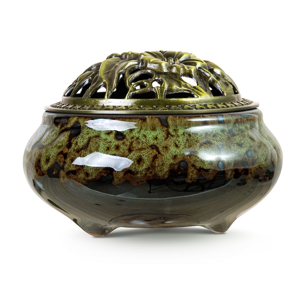 UINSOO Ceramic Incense Burner (For Sticks, Cones or Coils Incense) with Fireproof Cotton (Fambe emerald green)
