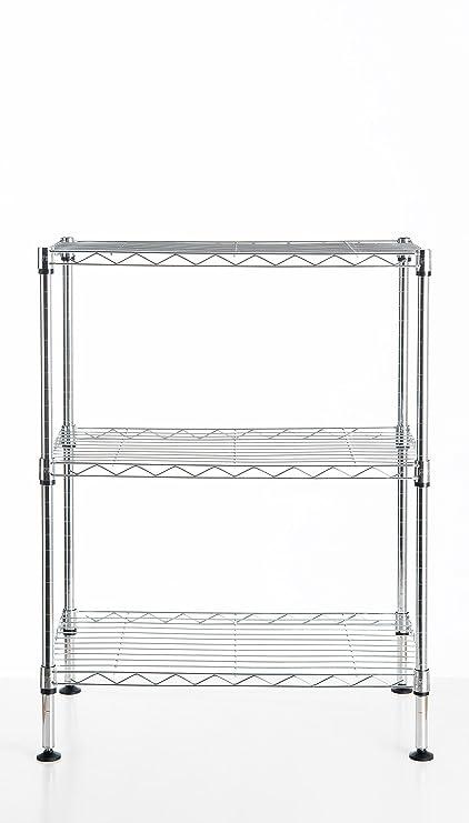 Amazon.com - WANNAKEEP Wire Shelving Adjustable 3 Tier Metal Shelf ...