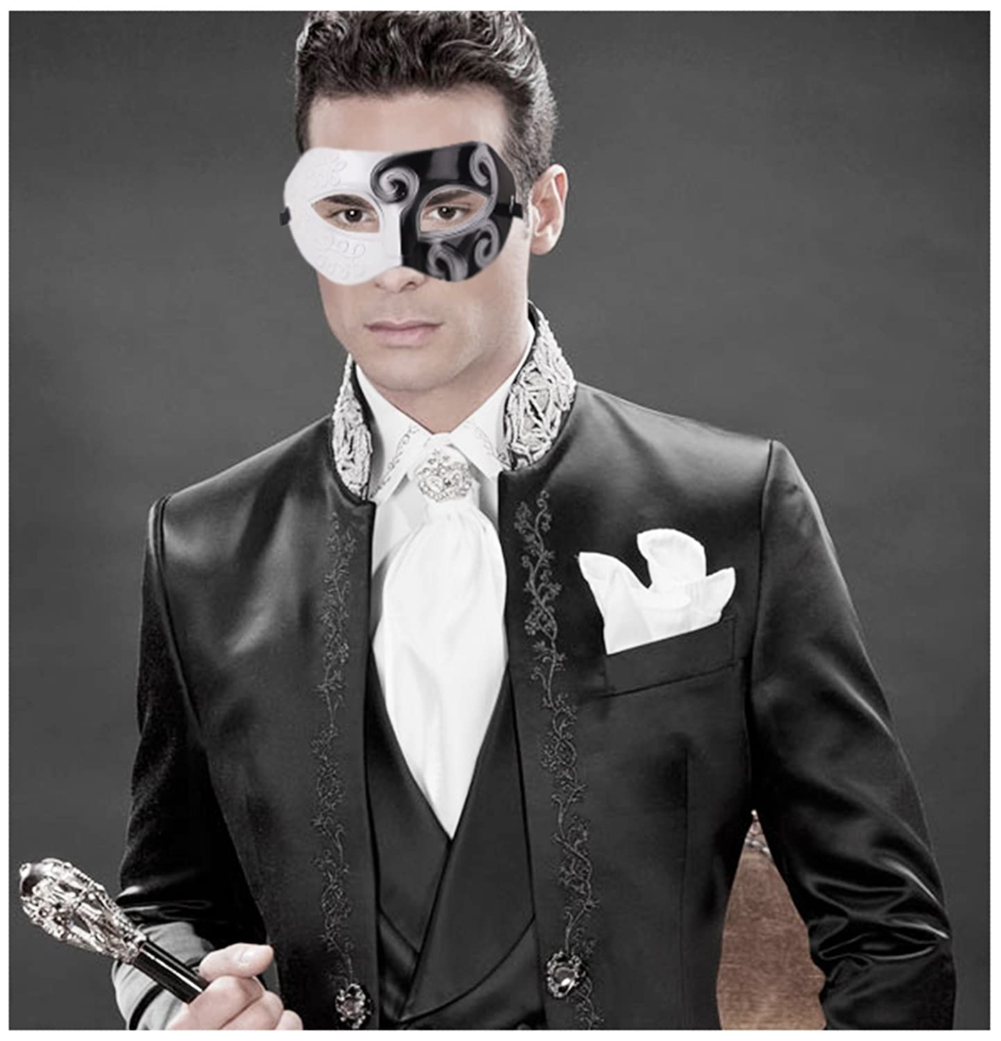 1f17bf724b4 Buy Coxeer Mens Masquerade Mask Greek Roman Party Mask Mardi Gras Halloween  Mask () One Size Half Face Mask Online at Low Prices in India - Amazon.in