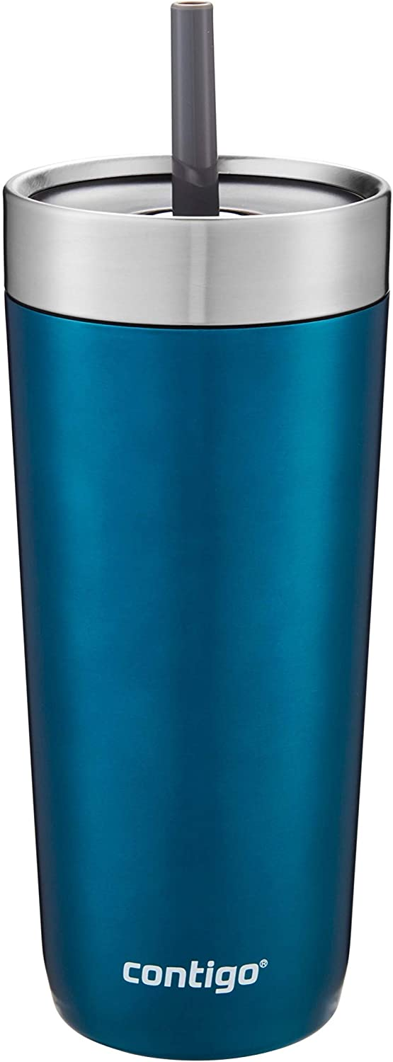 Contigo Luxe Stainless Steel Tumbler with Spill-Proof Lid and Straw | Insulated Travel Tumbler with No-Spill Straw, 18 oz, Biscay Bay