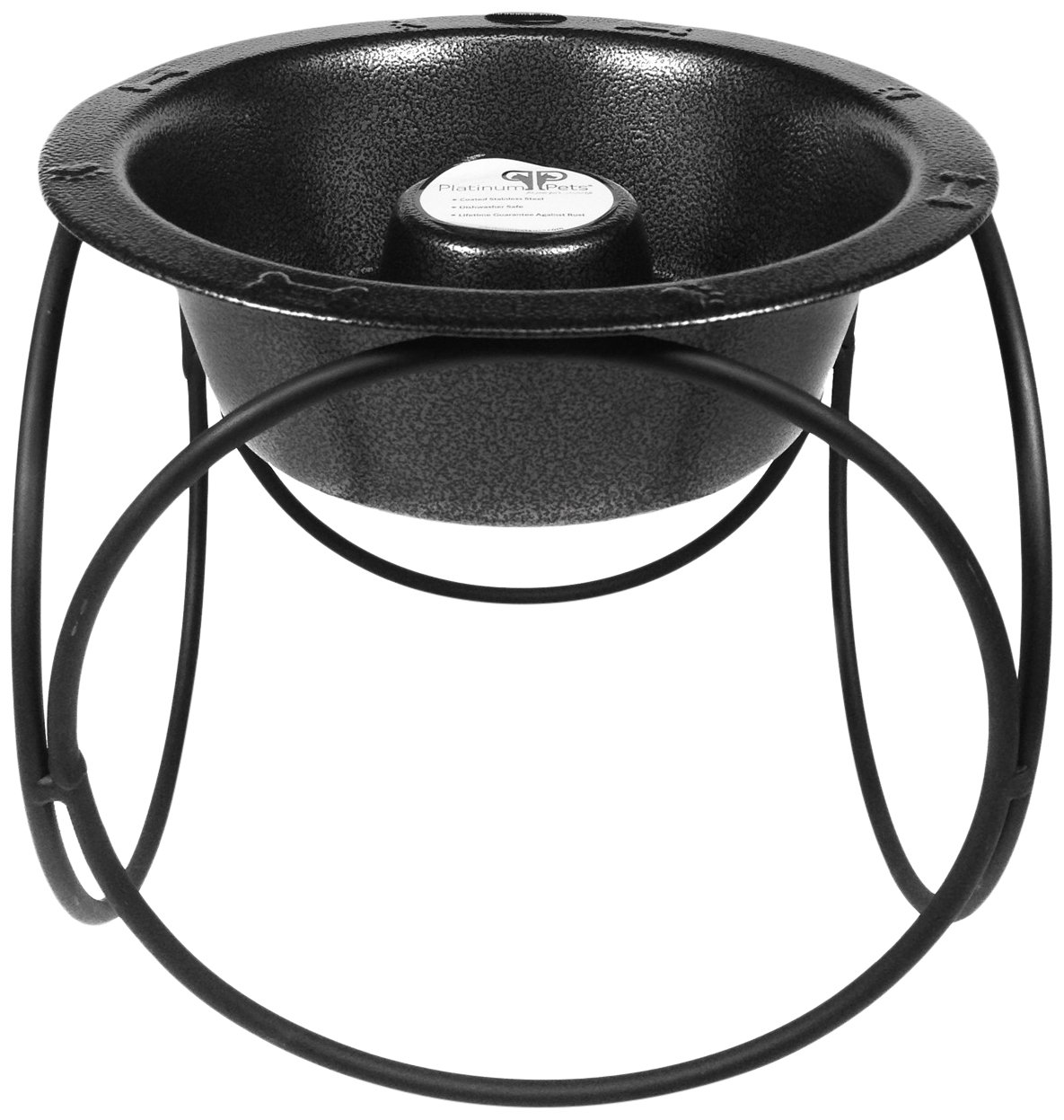 Platinum Pets Slow Eating Single Olympic Diner Feeder with Stainless Steel Dog Bowl, Silver Vein by Platinum Pets