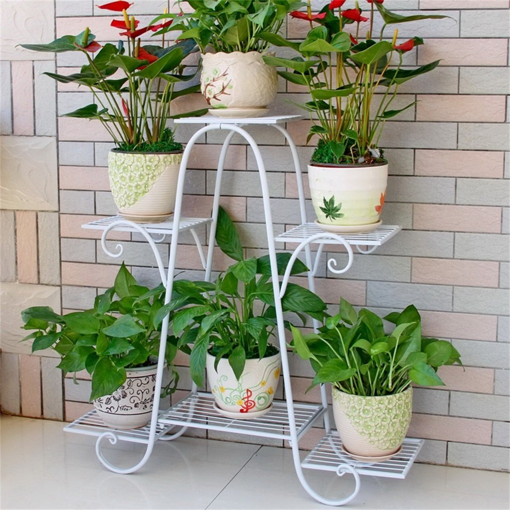 文明的な店-屋外ハーブフラワースタンド/フラワーラック - 6階の鉄の金属の植物鉢植えポットのための棚を立てる安定した植物スタンドバルコニー/リビングルーム/屋外/屋内庭装飾のガーデンストレージシェルフ(3色) (色 : 白, サイズ さいず : 76*23*73cm) B07CSP3M7C 76*23*73cm|白 白 76*23*73cm