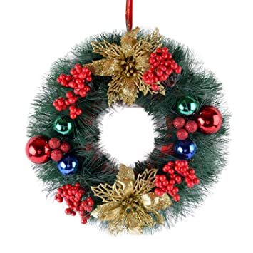 Christmas Wreaths.Christmas Wreaths For Front Door 30cm Lovely Merry Christmas Wreath Garland Ornaments Xmas Festival Holiday Party Decorations For Front Door Windows