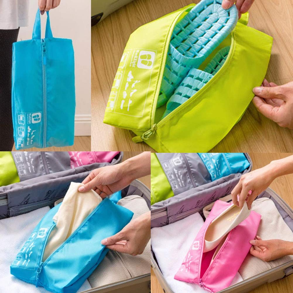 Blue Kylin Express Portable Shoe Bag Tote Pouch Organizer Case Storage Zip Bags for Travel