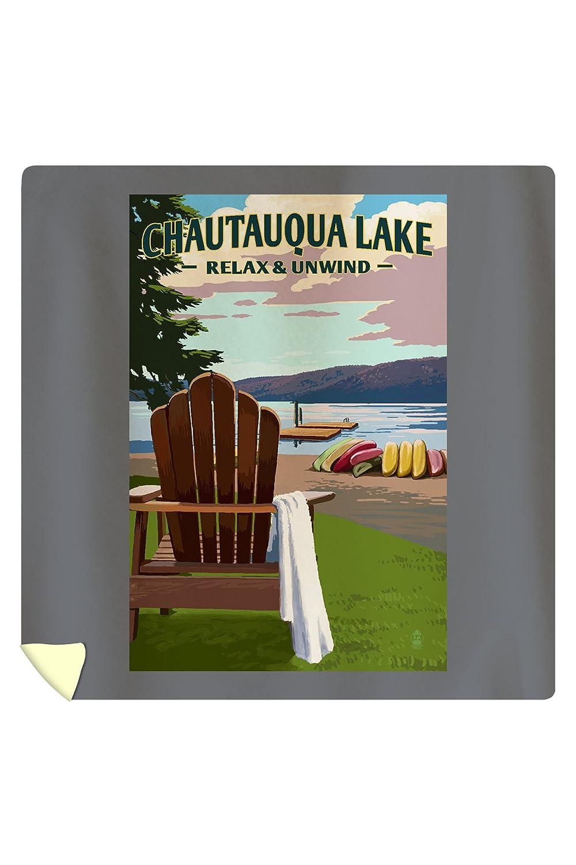 Chautauqua Lake, New York - Lake and Adirondack Chair (88x88 Queen Microfiber Duvet Cover)