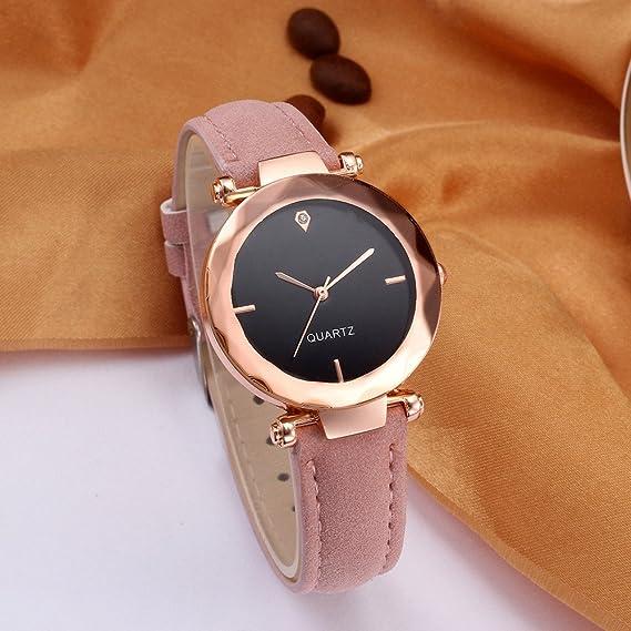 Hulky 2019 - Reloj de pulsera para mujer (piel, estilo casual, con hebilla analógica, cristal de cuarzo), color rosa: Amazon.es: Iluminación