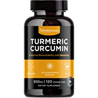 Turmeric Curcumin with Black Pepper - Without GMO and Gluten - Organic BioPerine Vitamins and Antioxidants - Paleo and Keto Friendly - Made in the USA [120 veggie capsules]