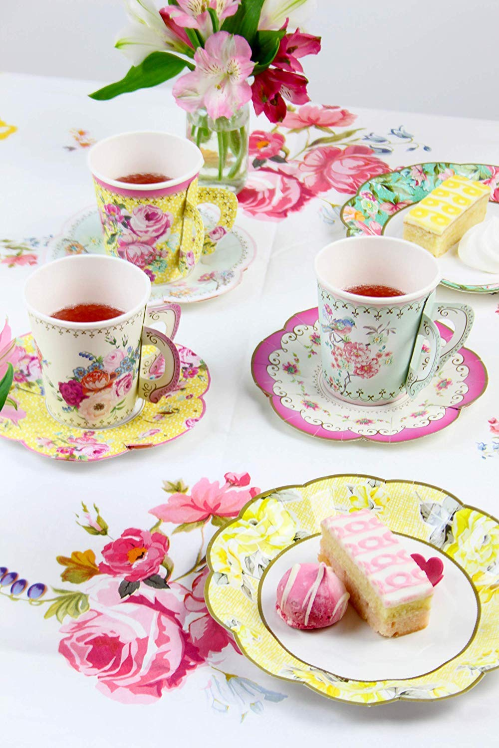 Talking Tables Vintage Floral Tea Party Supplies | Scalloped Paper Plates, Napkins, Tea Cups and Saucer Sets | Also Great for Wedding Parties, Bridal Shower, Baby Shower and Birthday Party by Talking Tables (Image #2)