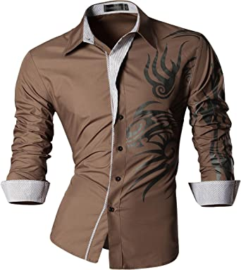 Jeansian Herren Freizeit Hemden Shirt Tops Mode Langarmlig Men's Casual  Dress Slim Fit 2028 (USA